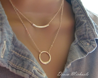 Double Strand Silver Circle and Bar Layered Necklaces, Silver Layering Necklace, Silver Double Strand Necklace