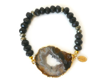 Bliss Bracelet- Gold plated Natural Stone, black agate beaded bracelet