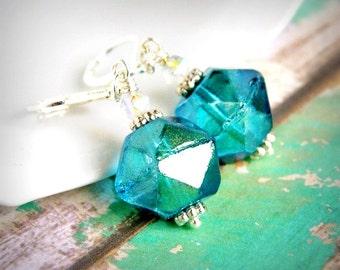 blue rock candy drop earrings, dangle, silver leverback czech glass earrings