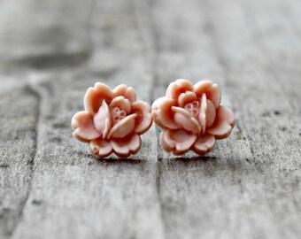 Titanium Flower Earrings, Peach Handmade Rosettes on Hypoallergenic Titanium Posts/Studs