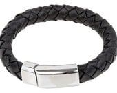 "Mens Leather Bracelet - Black Braided Bolo Leather Bracelet Stainless Steel Magnetic Lock 8"", B0006BLK NEW!"