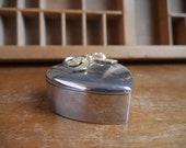 Silver Heart Ring Box with Bow Vintage Keepsake Heart Box with Red Lining for Proposal or Wedding
