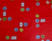 "Vintage 1950s Fun Button Design on Red Fabric Textile Cloth Sewing Yardage 35"" Wide - 6 Yds Available"