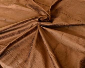 Dark Copper brown with black shimmer, Pure Indian Silk  Dupioni fat quarter - - D 285