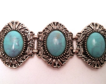 Wide Lucite Turquoise Silver Link Bracelet