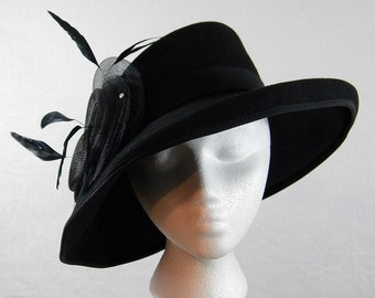Dramatic Ladies Wool Fedora Hat With Plumes
