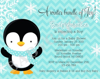 penguin baby shower invitation bo y winter theme baby shower