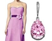 Rosaline Light Pink Crystal Earrings Swarovski Pink Rhinestone Silver Earrings Bridesmaid Pink Teardrop Earrings Wedding Blush Pink Earrings