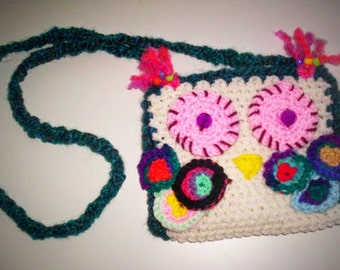 Hip OWL CROCHET funky  crocheted cross body/ clutch  bag very unique