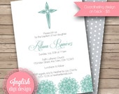 Printable Cross Baptism Invitation, Cross Baptism Invite - Medallion Cross in Teal, Gray and White