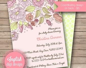 Springtime Floral Baby Shower Invitation, Springtime Floral Baby Shower Invite, Printable Baby Shower Invitation - Springtime Floral in Pink