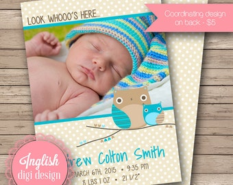 Owl Birth Announcement, Owl Baby Photo Announcement, Printable Owl Baby Announcement - Retro Owl and Baby in Teal Blue and Tan