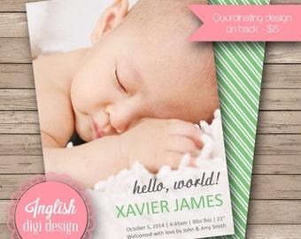 Hello World Birth Announcement, Hello World Baby Announcement, Printable Hello Baby Photo Announcement in Green and Gray