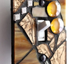 Golden Glamour  -  Handmade Single Mosaic Light Switch Cover Wall Plate