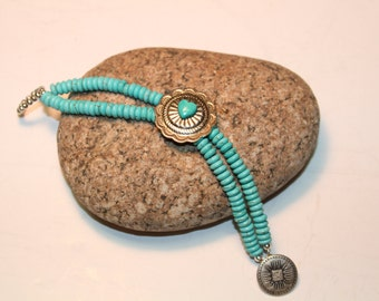 Turquoise Bracelet with Concho