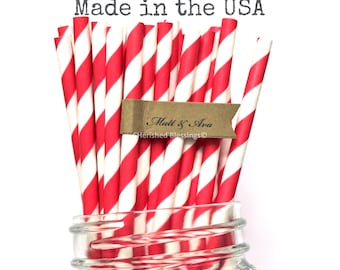 25 Red Paper Straws, Red Striped Paper Straws, Made in USA, Rustic Wedding, Cake Pop Sticks, Vintage Baby Shower, Birthday Superhero Party