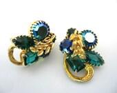 Vintage Blue Green and Ab Rhinestone Earrings