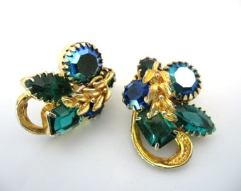 Vintage Blue Green and Ab Rhinestone Earrings