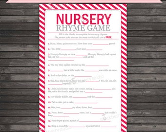Red Baby Shower Nursery Rhyme Game - Instant Download - Red Baby Shower Game - Nursery Rhyme Quiz - Red Baby Shower Games Printable