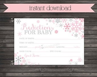 Winter Baby Shower Baby Prediction Card - Pink Gray Girl Winter Wonderland Baby Shower Games Printable - Instant Download - Baby Predictions
