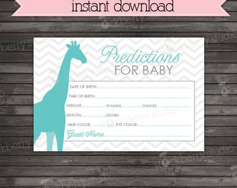 Giraffe Baby Shower Predictions Card - Gray Aqua Blue Baby Shower Baby Stats Game - Guess Baby Due Date Printable Game - Instant Download
