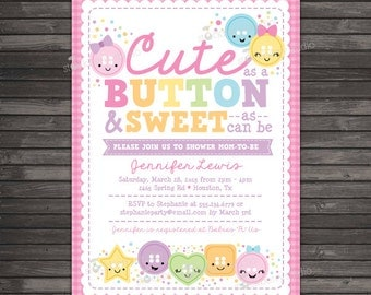 Cute As A Button Baby Shower Invitation Printable - Girl Baby Shower Invites - Pink Baby Shower Invitation - cute as a button baby shower