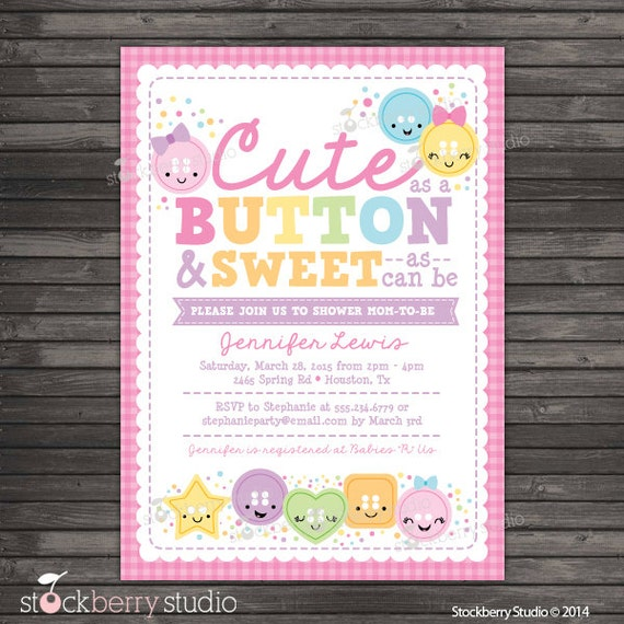 cute as a button baby shower invitation printable girl baby shower