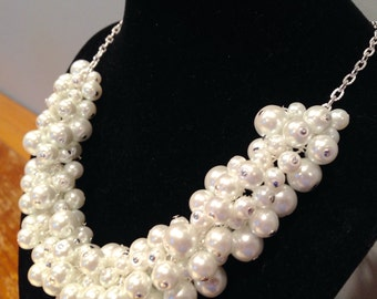 Snow White Pearl and Silver Statement Necklace