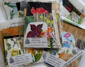 Gardening Paper Pack - Vintage Book Paper Cutouts with a Green Thumb - Illustrations, Text, Phrases