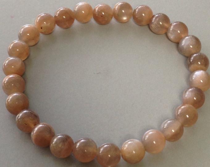 Mocha Peach Moonstone Bracelet 8mm Round Bead Stretch Bracelet for moon magick abundance intuition and goal manifestation
