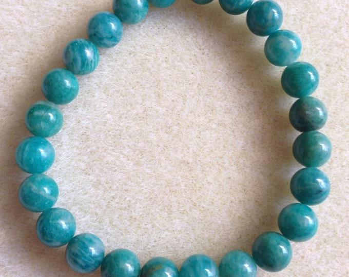 Russian Amazonite 8mm Round Stretch Bead Bracelet with Sterling Silver Accent