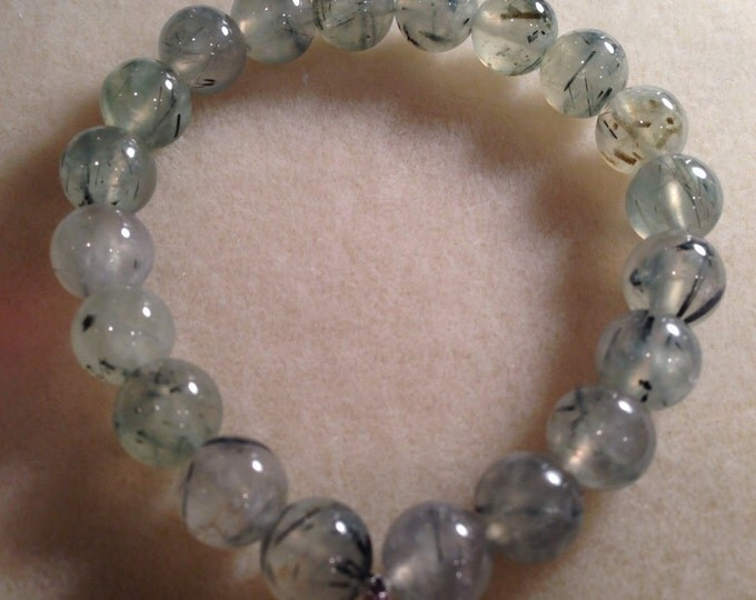 Prehnite & Epidote 10mm Round Stretch Bead Bracelet with Sterling Silver Accent