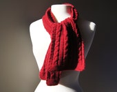 Vintage Cabled Scarf - Maroon - Red