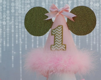 Minnie Mouse Birthday Hat, Birthday Cap, Light Pink and Gold