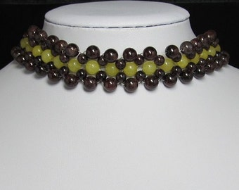 nice Necklace 16 inch IN Multi rows Garnet Jade 925 Silver