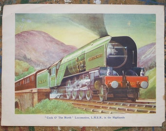 "Vintage Train Illustration ""Cock o' the North"" locomotive LNER 1940s"