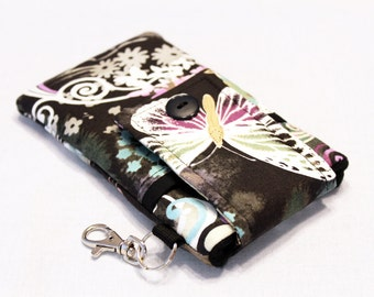Custom fabric cell phone holder, iPhone SE, 6 6s Plus, 7 plus, 5 5s 5c 4s 4 smartphone, wallet, case, purse, sleeve, pouch-butterfly night