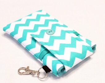 Custom fabric cell phone holder, iPhone SE, 6 6s Plus, 7 plus, 5 5s 5c 4s 4 smartphone, wallet, case, purse, sleeve, pouch-Aqua chevron