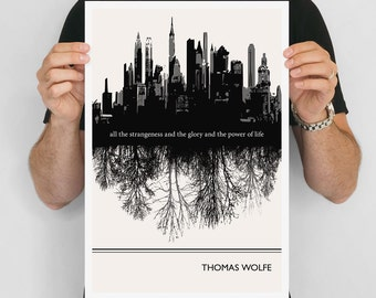 Modern Art Prints, Thomas Wolfe Quote Minimalist Poster, Large Wall Art Print, New York City Quote Posters, Vertical Living Room Art