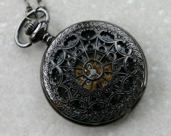 Wind Up Pocket Watch in Gunmetal