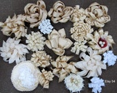 Fabric flowers, Bulk fabric flowers, Vintage fabric flowers, Weddings decor, Mason jars decorations,  20 fabric flower for bouquet making