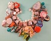 Under the Sea Charm Bracelet one of a kind vintage repurposed