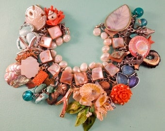 Under the Sea Charm Bracelet one of a kind vintage repurposed