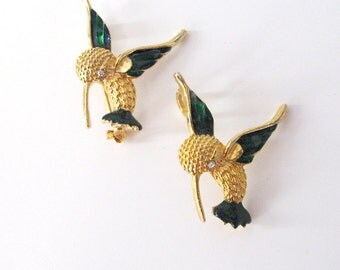 Hummingbird Pair Pendant and Brooch Jewelry Set, Gold Tone with Blue Green Enamel