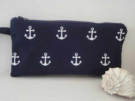 Navy Blue Anchor Pencil Case Pouch Handmade