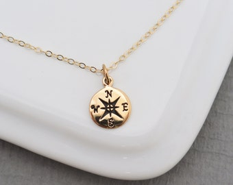 GOLD or Silver Compass necklace, Graduation Necklace, Best Friends Necklace, Travelers Necklace,  Friendship Necklace, Tiny Compass charm