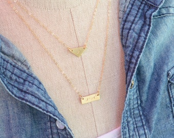 Gold Geometric Necklace Set of 2 / Triangle Tiny Bar Layered Necklace Set / Minimalist Personalized Jewelry / Initial Necklaces / BFF Gift