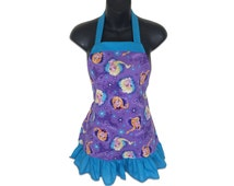 Frozen Sisters Forever Kids Apron in Purple // Disney's Frozen Kids Apron // Elsa, Anna // Size 4-6-8-Young Adult