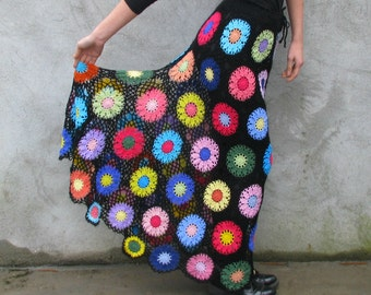 Long Gypsy skirt Transparent Colorful flowers on black background,multicolor S/M/L