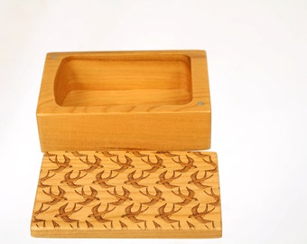 Wooden Storage Box, SB5, Solid Cherry -Laser Engraved Op Art,  Paul Szewc, Masterpiece Gallery